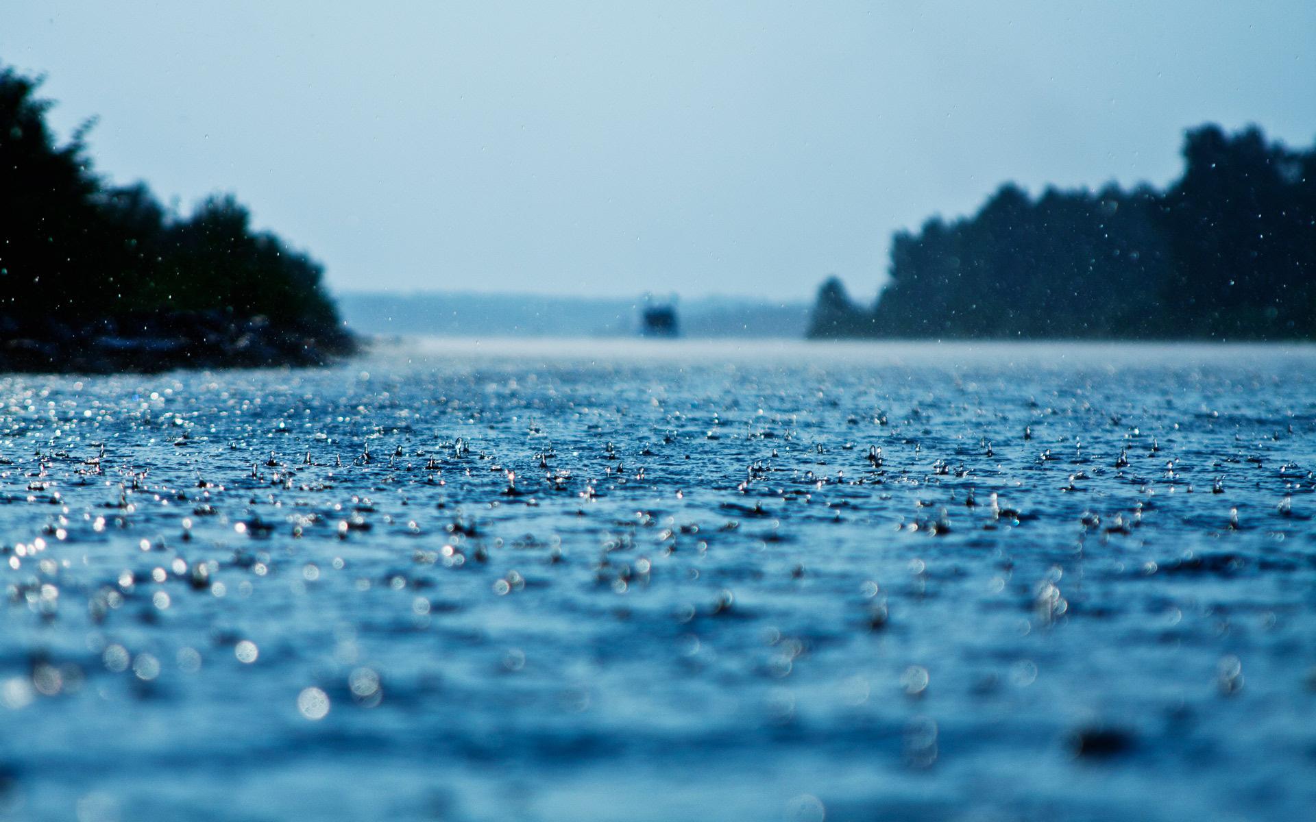 Fotografie - Regen  Blau Wasser Wallpaper