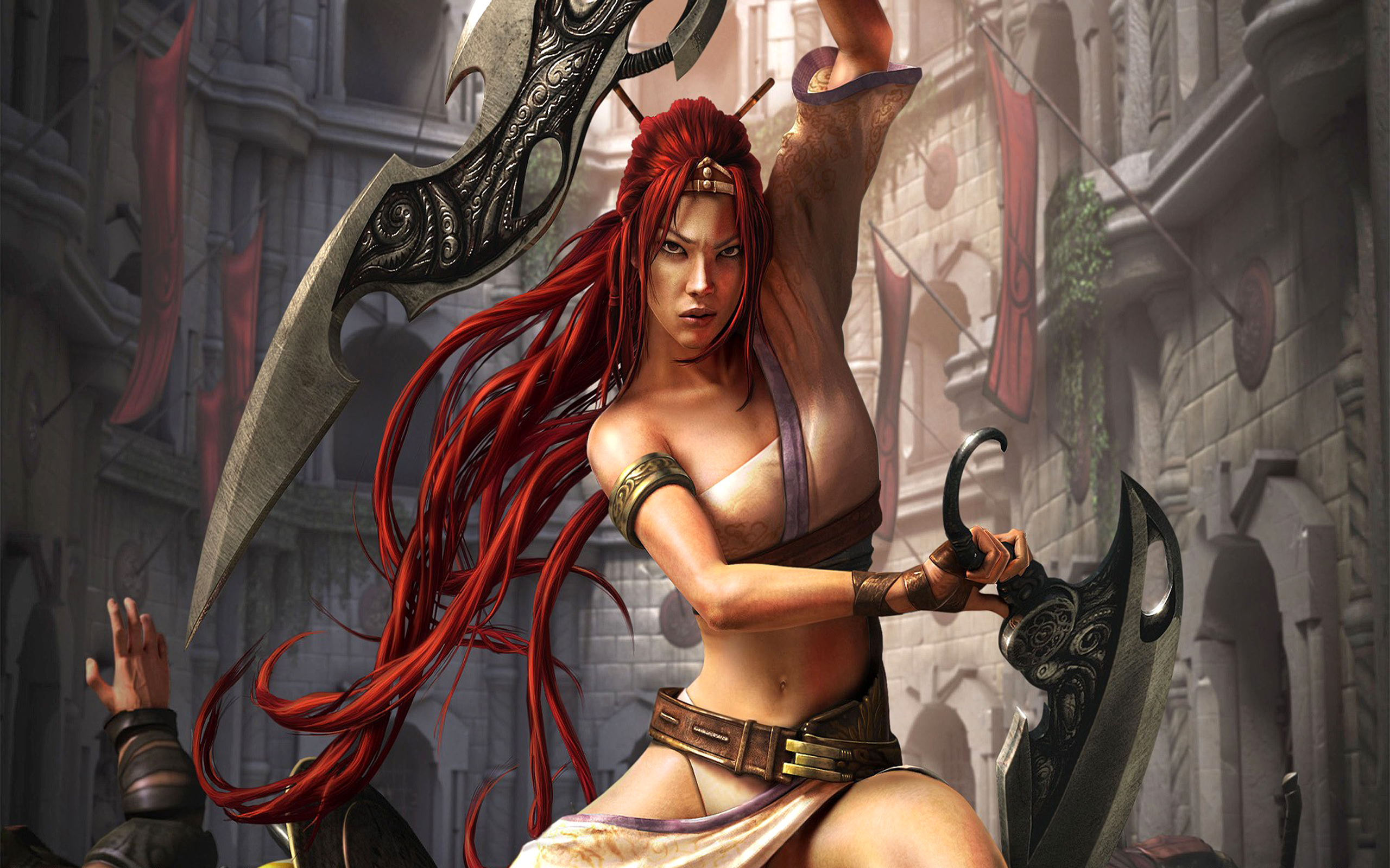 Jeux Vidéo - Heavenly Sword  Fantaisie Woman Woman Warrior Red Hair Epée Belt Fond d'écran