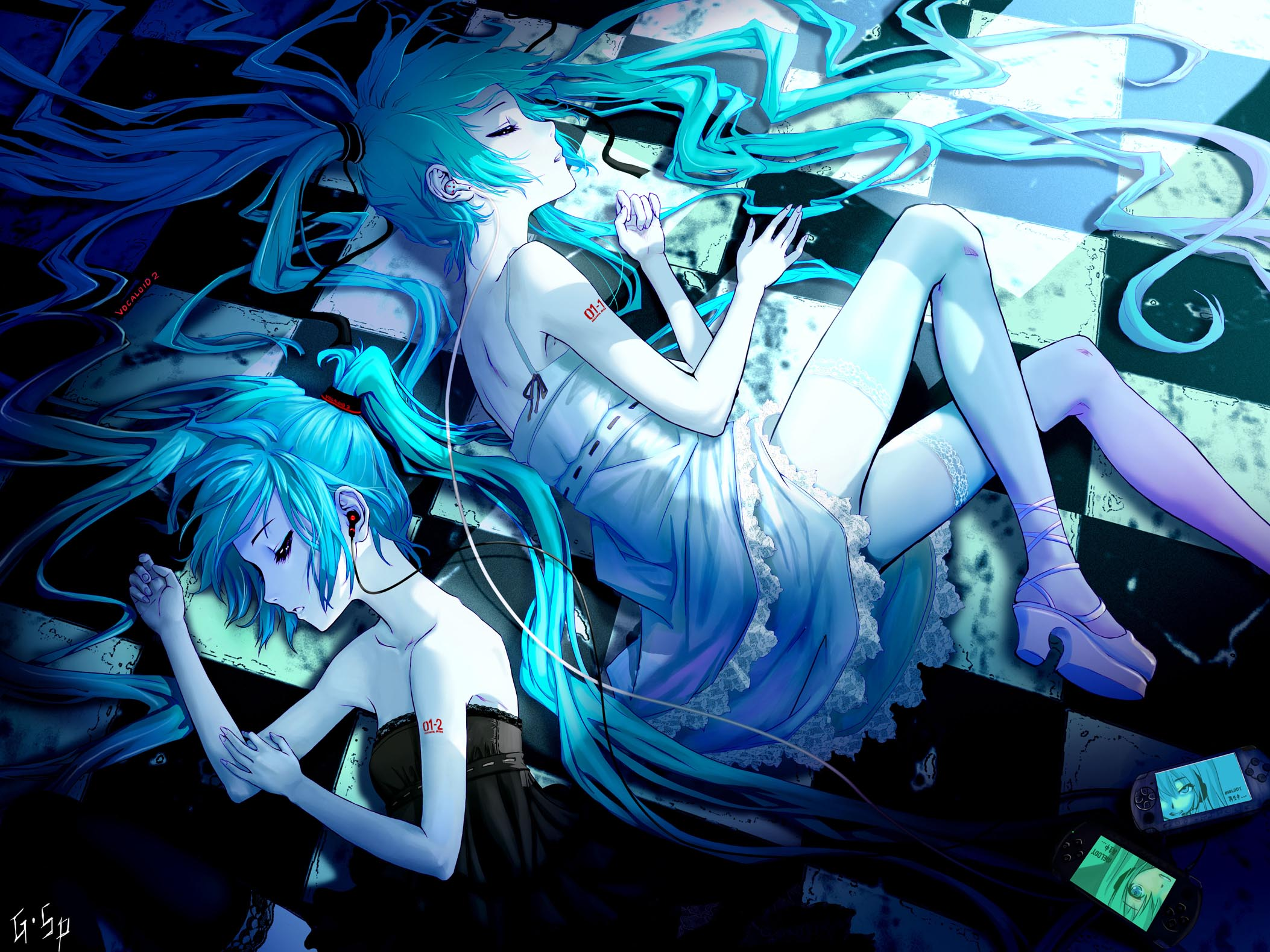Vocaloid hd wallpaper background image 2106x1580 id - Blue anime wallpaper ...