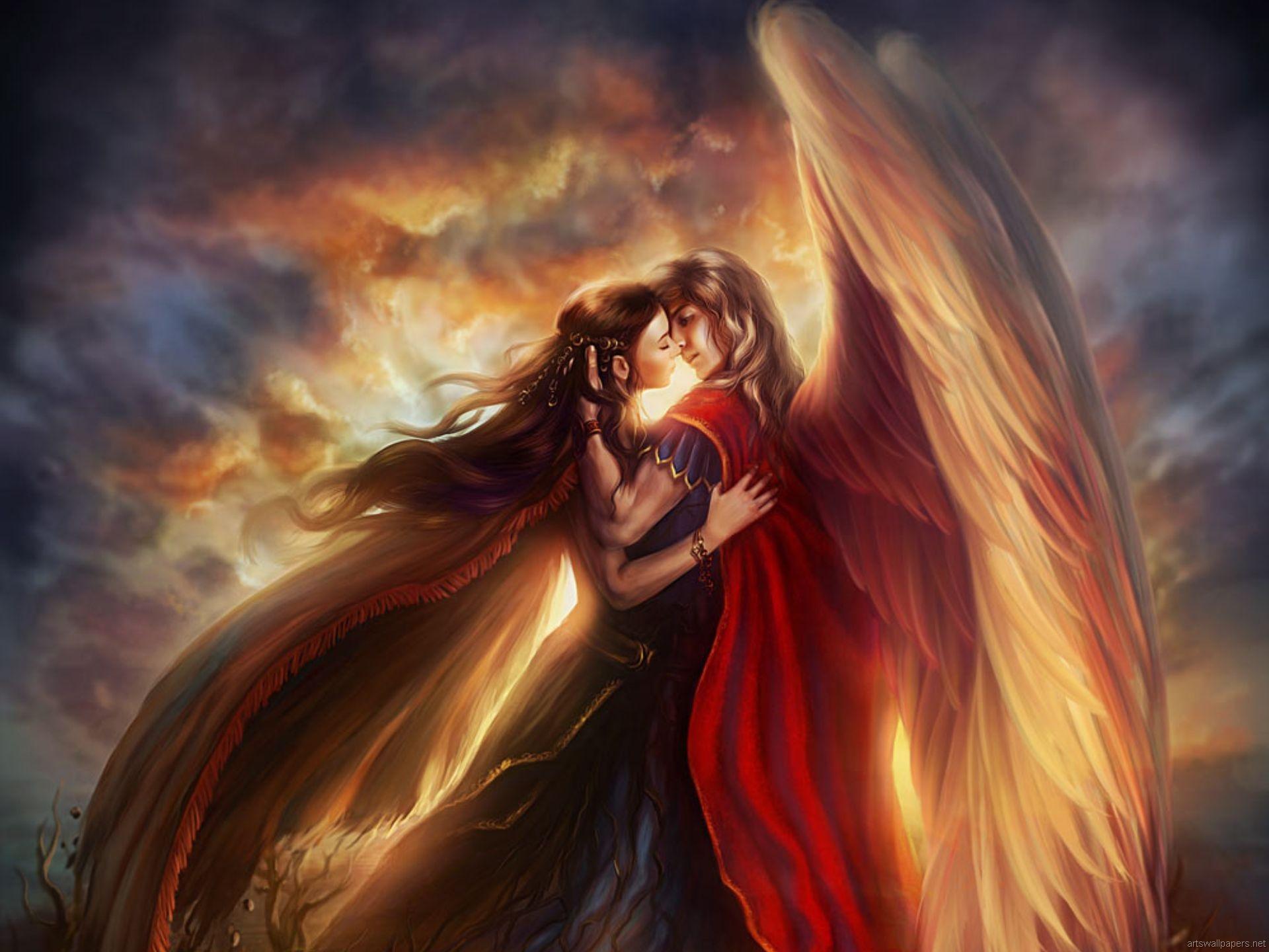 Фэнтези - Ангел  Любовь Love Of An Angel Обои