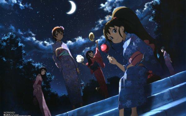 Anime Working!! Aoi Yamada Popura Taneshima Starry Sky Moon Yukata Mahiru Inami Nazuna Takanashi HD Wallpaper | Background Image
