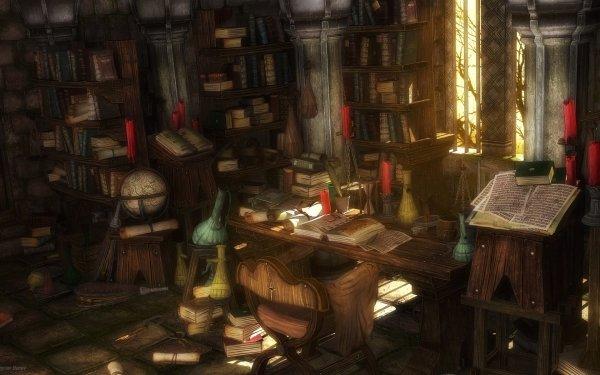 Fantaisie Library Alchemy Fond d'écran HD | Arrière-Plan