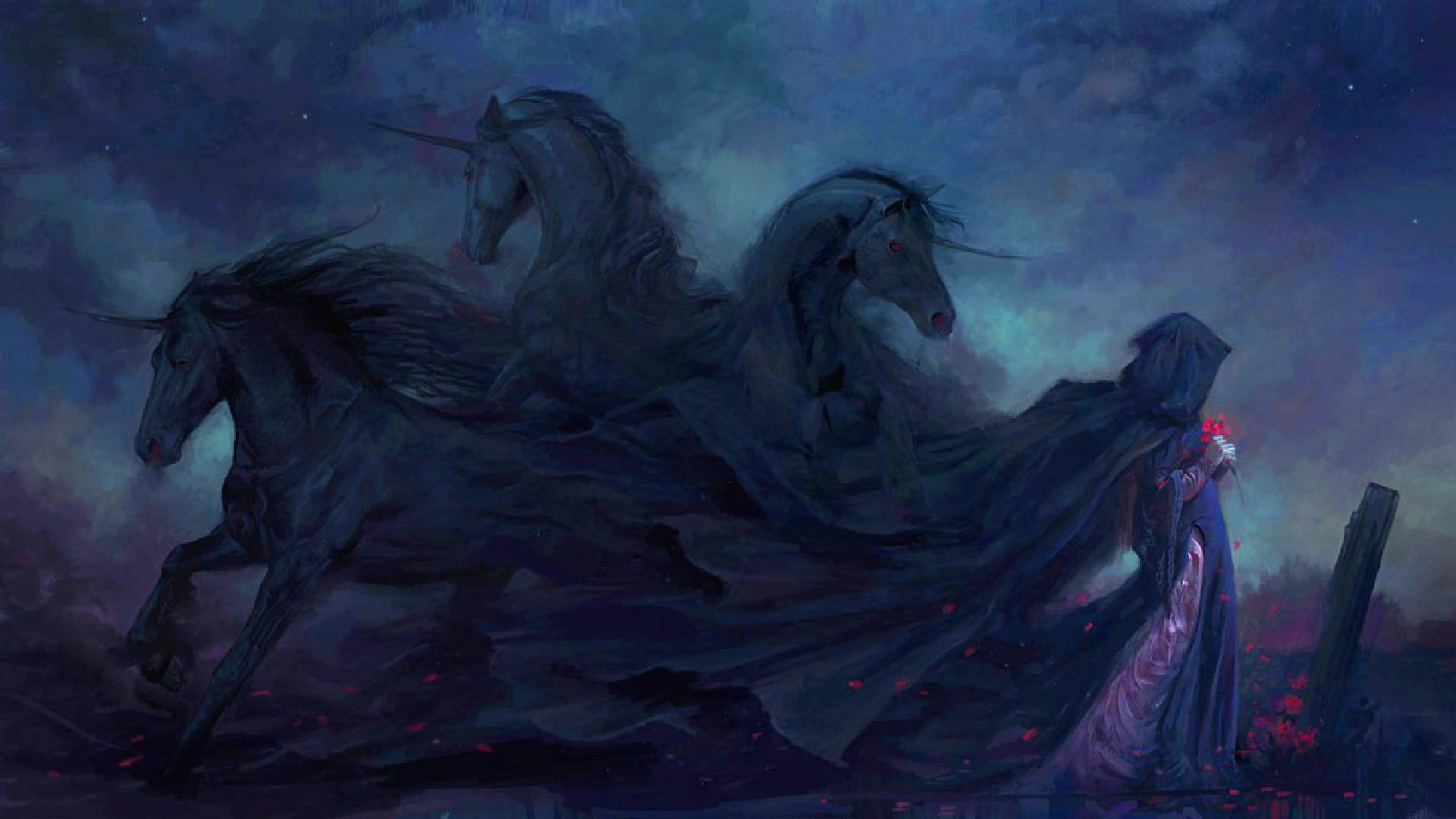 Dark - Artistic  Dark Unicorn Sadness Woman Gothic Wallpaper