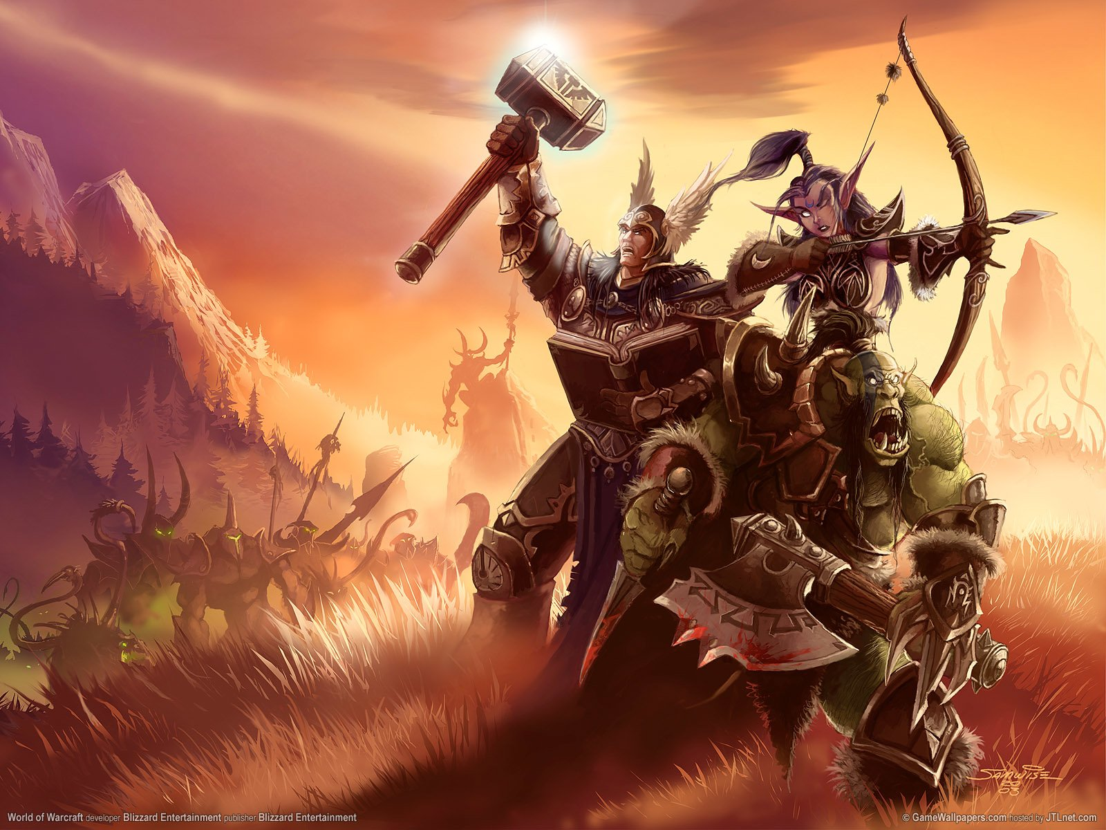 Video Game - World Of Warcraft  Orc Night Elf Human Fight Wallpaper