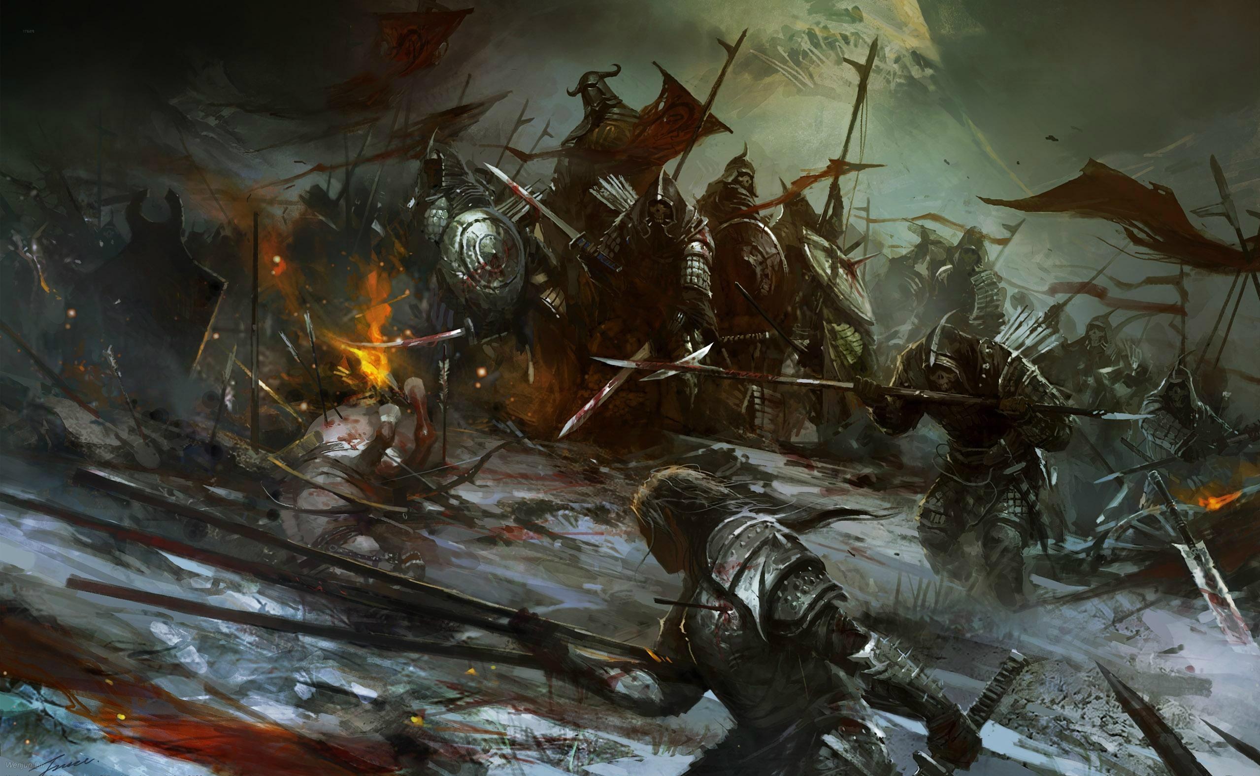 Género Fantástico - Batalla  Guerreros Fight Weapon Death Oscuro Espada Fondo de Pantalla
