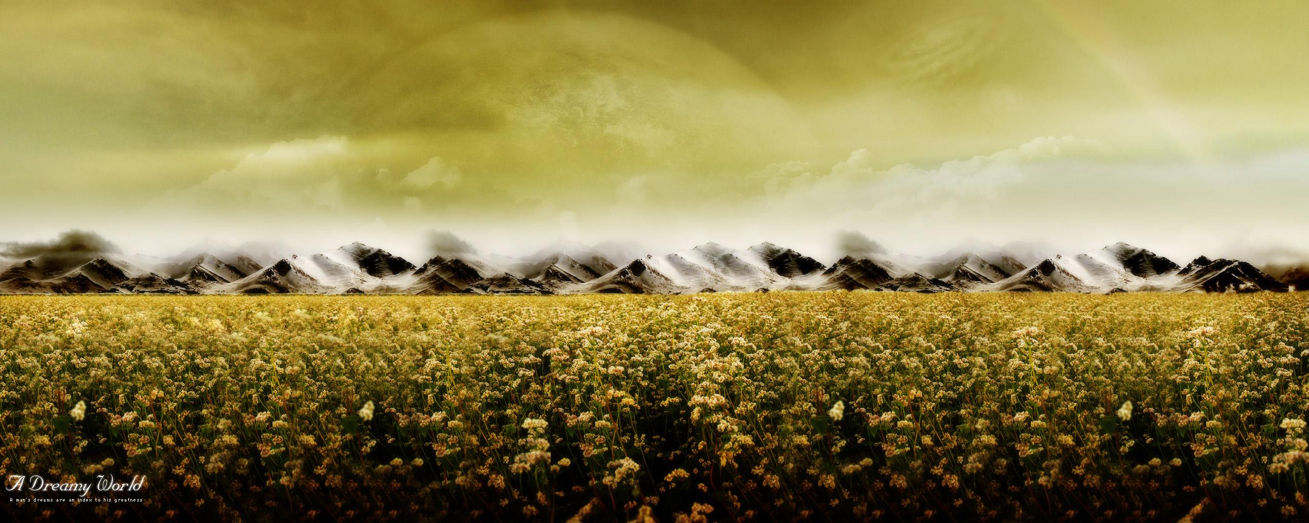 Earth - A Dreamy World Planet Landscape Flower Field Wallpaper