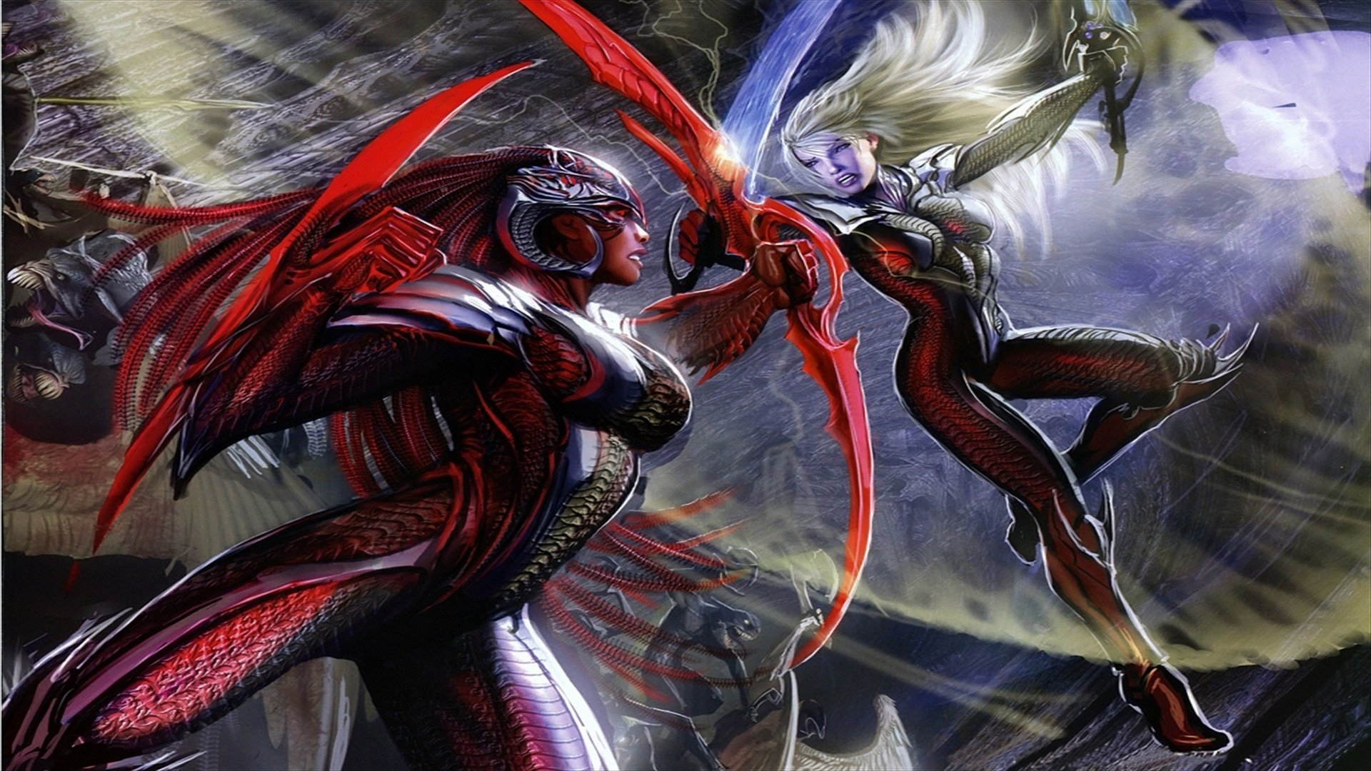 Comics - Witchblade  Witch Fight Dark Latex Gothic Wallpaper