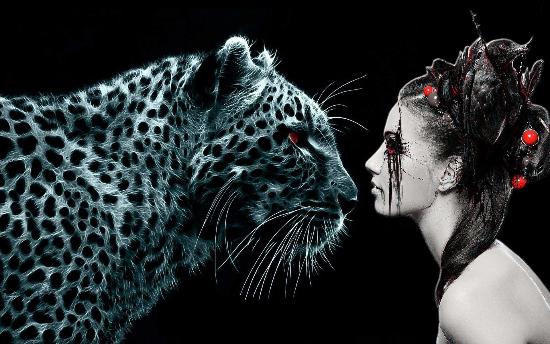 Dark - Women  Leopard Dark Digital Wallpaper