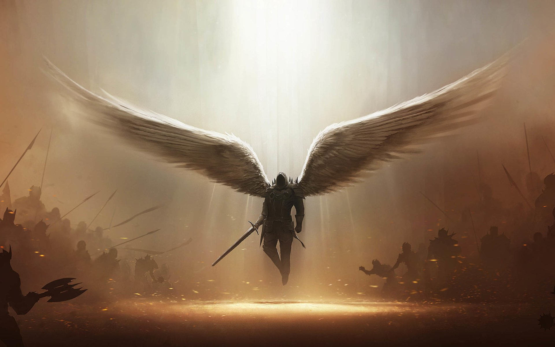 Video Game - Diablo III  Angel Tyrael (Diablo III) Dark Wings Demon Sword Weapon Angel Warrior Wallpaper
