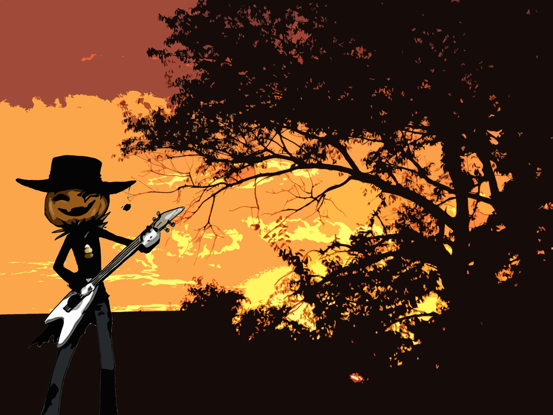 Holiday - Halloween  Jack-o'-lantern Guitar Wallpaper