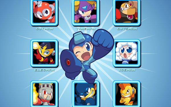 Video Game Mega Man Powered Up Mega Man Elec Man Cut Man Time Man Guts Man Oil Man Bomb Man Ice Man Fire Man HD Wallpaper | Background Image