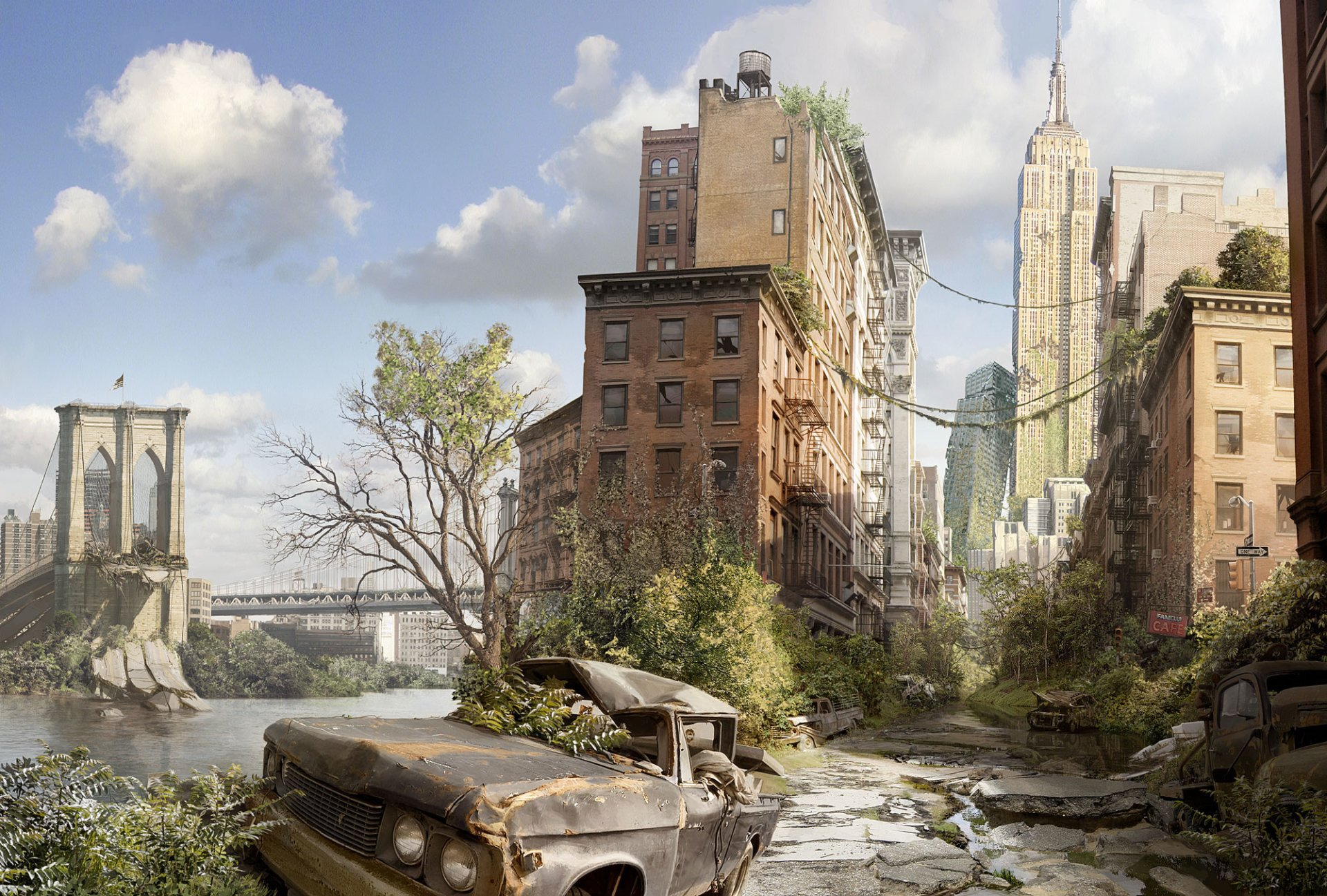 Sci Fi - Post Apocalyptic  Destruction Building New York Wallpaper