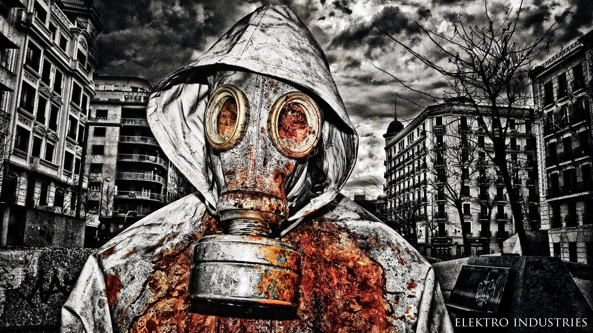 Gas Mask Man Smoke HD Wallpaper