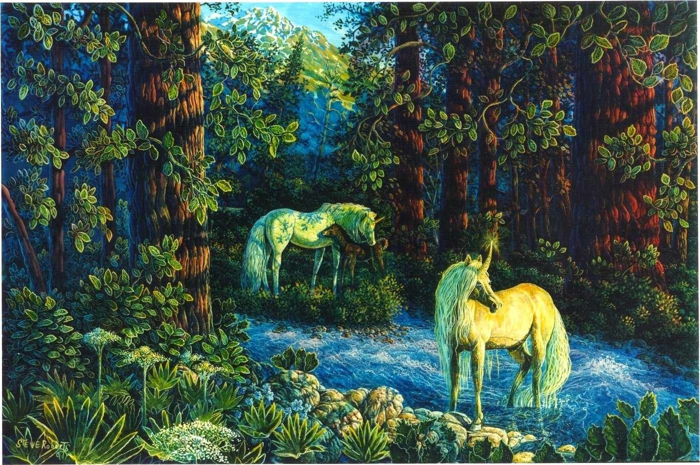 Unicorn In Forest Wallpaper And Background Image