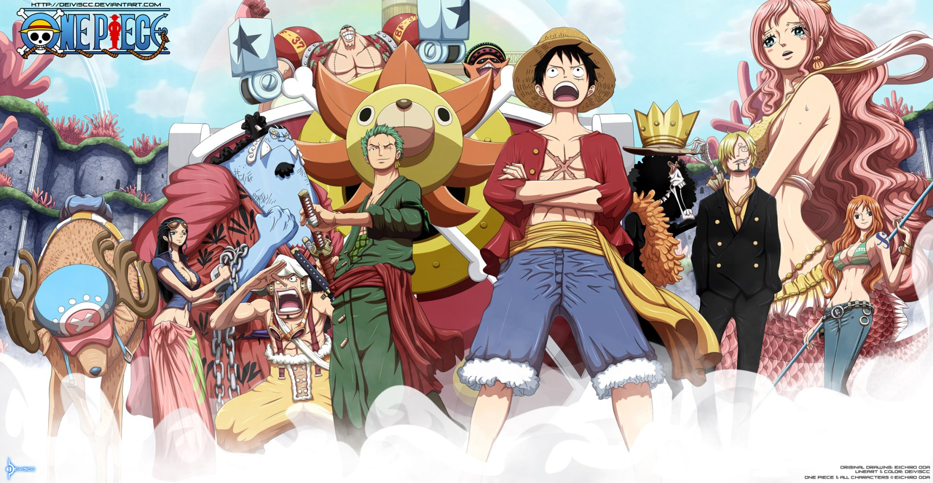 动漫 - 海贼王  Pappug (One Piece) Shirahoshi (One Piece) Nami (One Piece) Sanji (One Piece) Brook (One Piece) Monkey D. Luffy Zoro Roronoa Sunny (One Piece) Franky (One Piece) Jinbe (One Piece) Usopp (One Piece) Nico Robin Tony Tony Chopper 壁纸