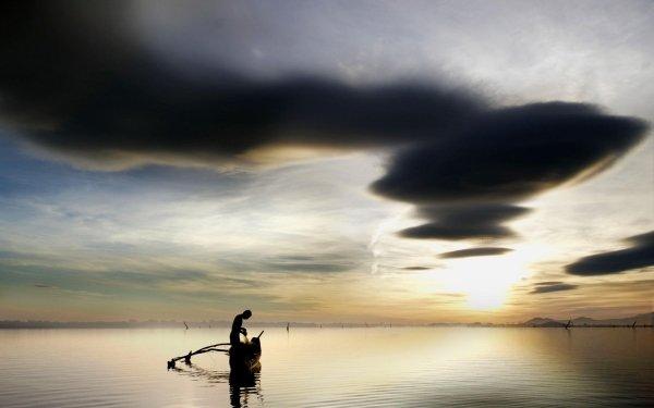 Photography Fisherman Boat Fishing Sky Cloud Sunrise Lake HD Wallpaper | Background Image