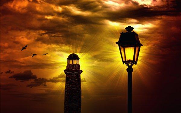 Hecho por el hombre Faro Edificios Atardecer Street Light Alumbrado público Cielo Fondo de pantalla HD | Fondo de Escritorio