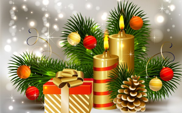 Holiday Christmas Christmas Ornaments Candle HD Wallpaper | Background Image