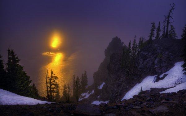 Earth Sunrise Tree Rock Dawn Oregon Crater Lake Crater Lake National Park HD Wallpaper   Background Image