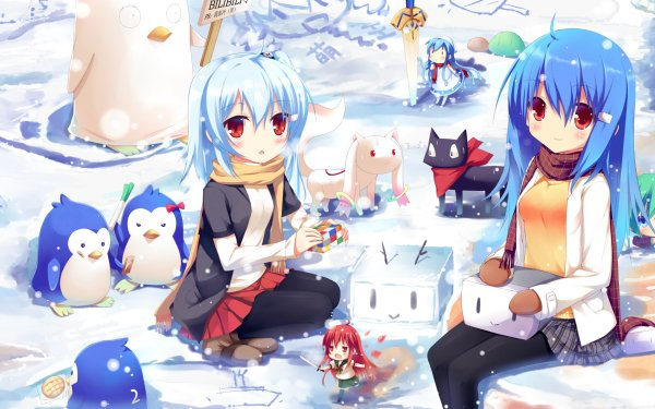 Anime Crossover Winter Season Clannad Blue Hair Red Eyes Scenery Light Snow Penguin Cat Blue HD Wallpaper | Background Image