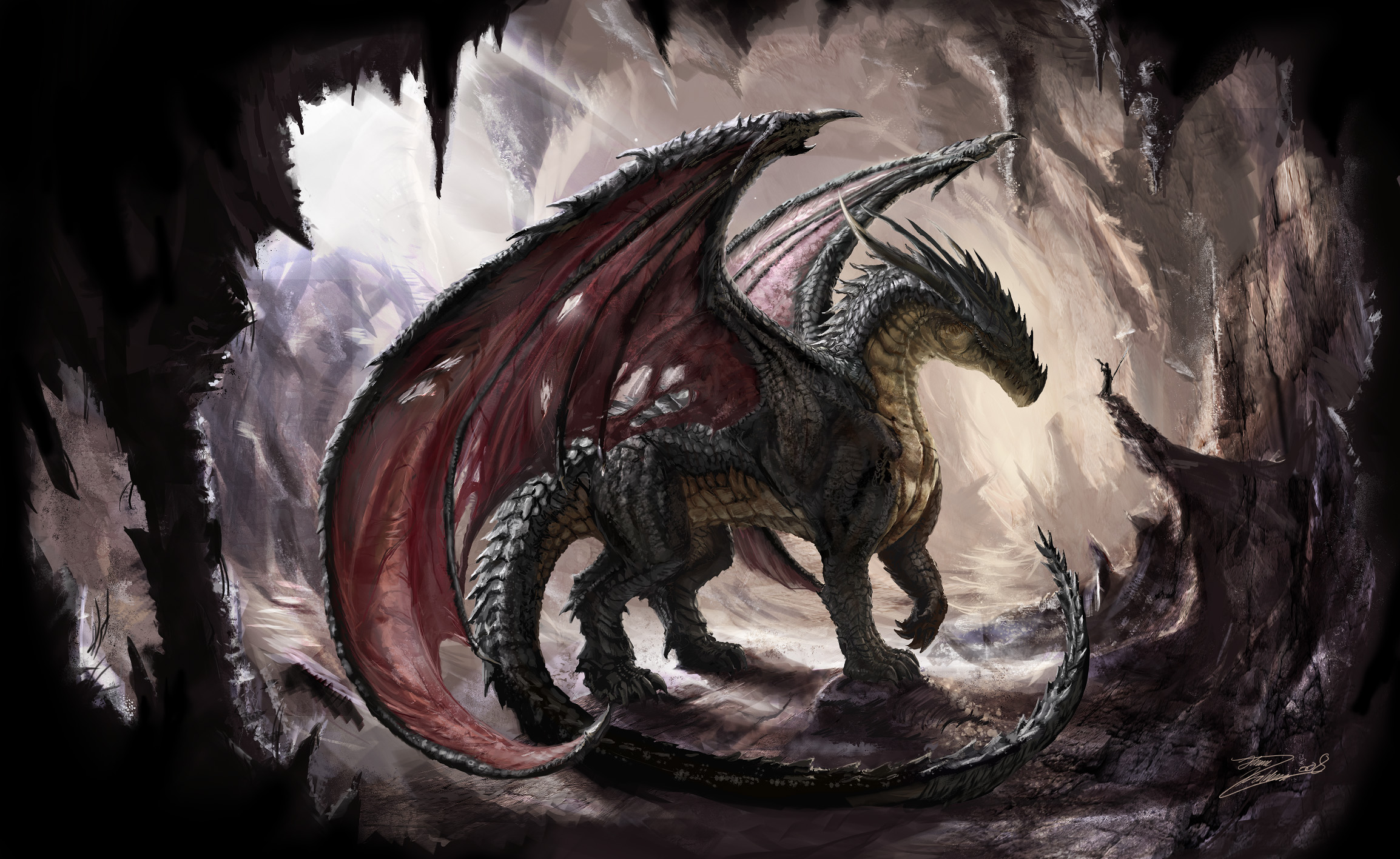 Dark dragon computer wallpapers desktop backgrounds for Cool fantasy drawings