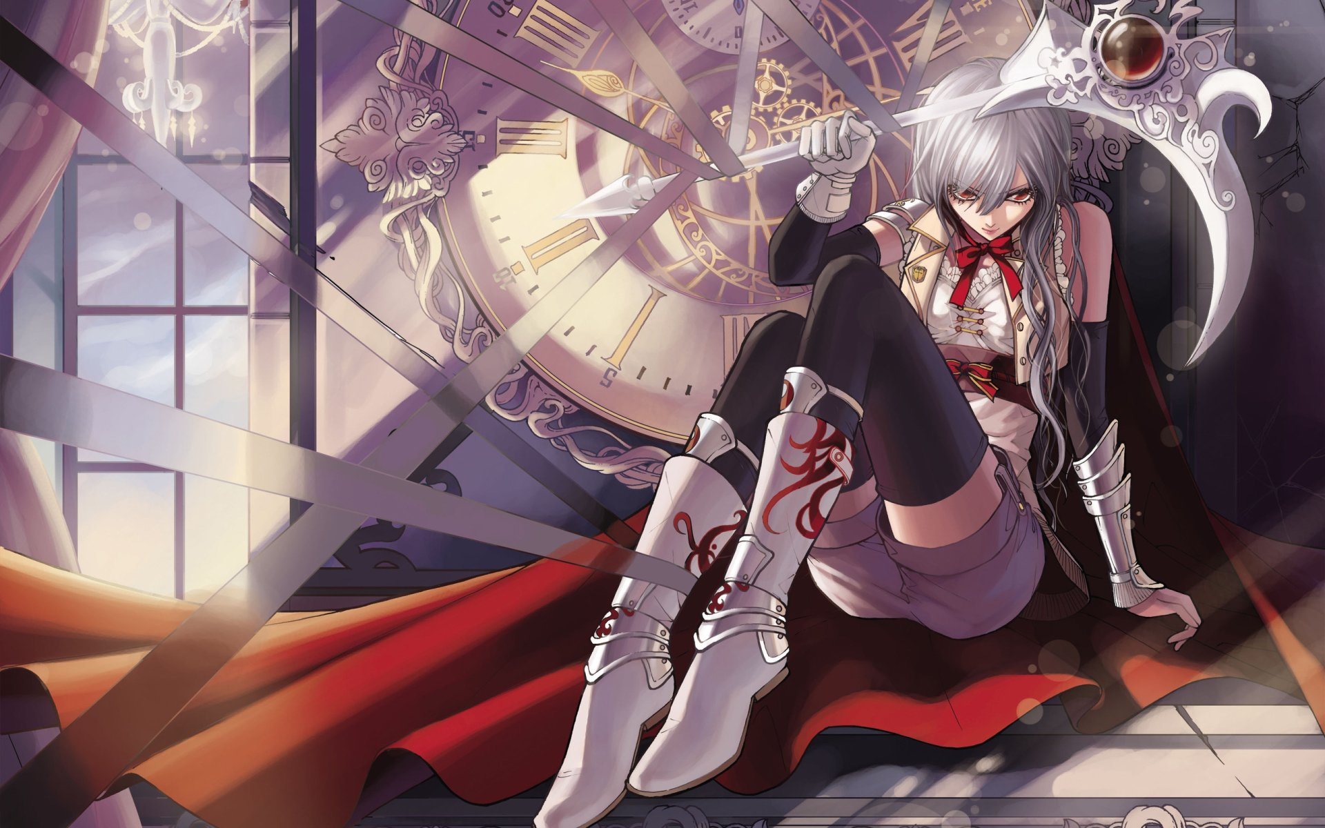 动漫 - 原创  女孩 Red Eyes White Hair Scythe Thigh Highs 时钟 Shorts Cape Original (Anime) 壁纸