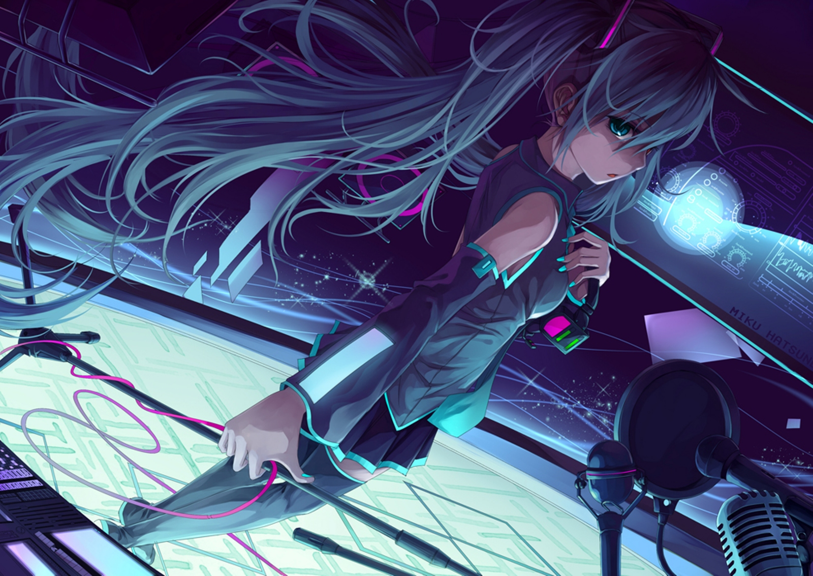 Anime - Vocaloid  - Miku - Hatsune - Cg - Digital - Girl - Headphones Papel de Parede