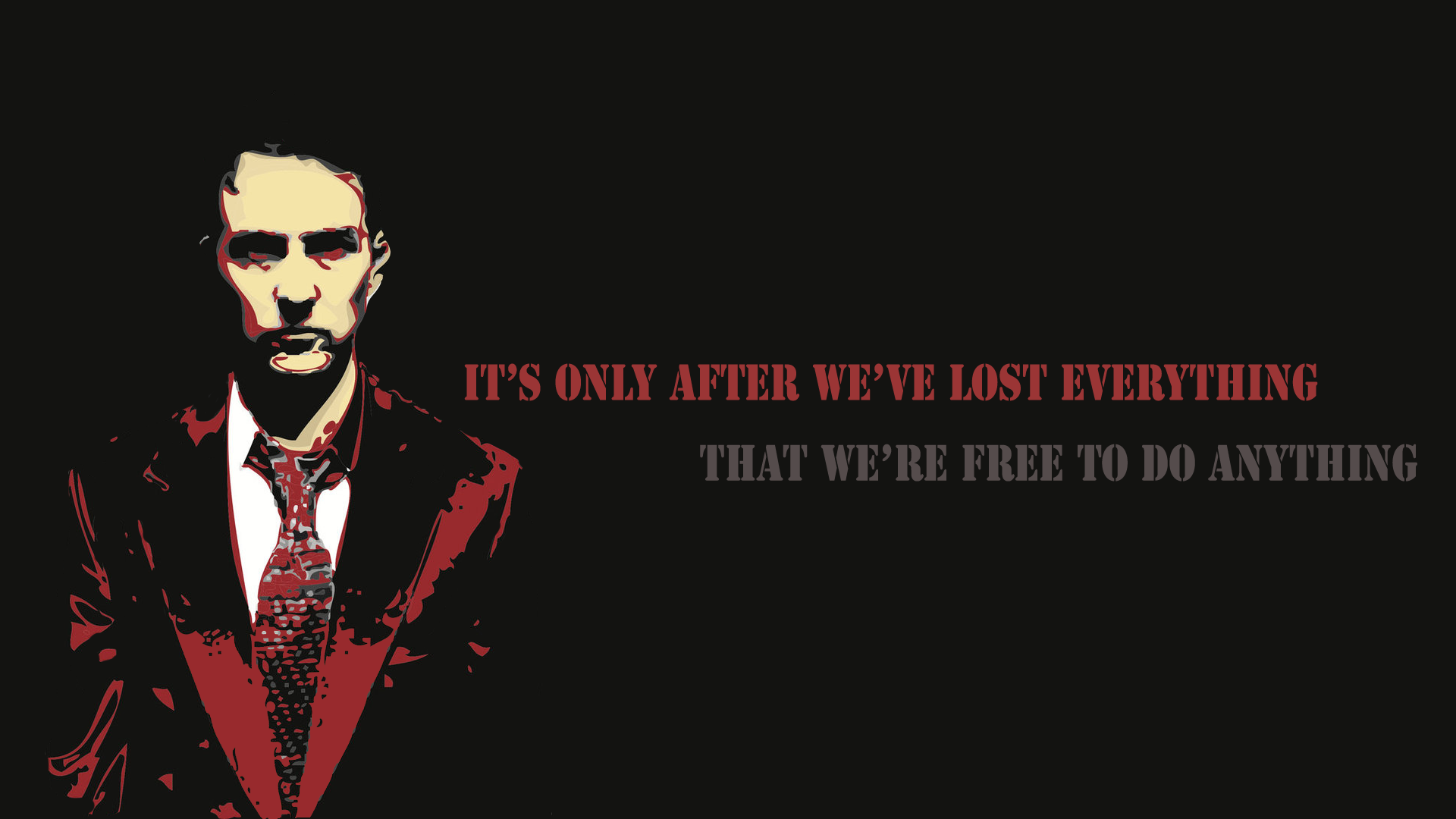 Movie - Fight Club  - Quote - Anarchy - Dark Wallpaper