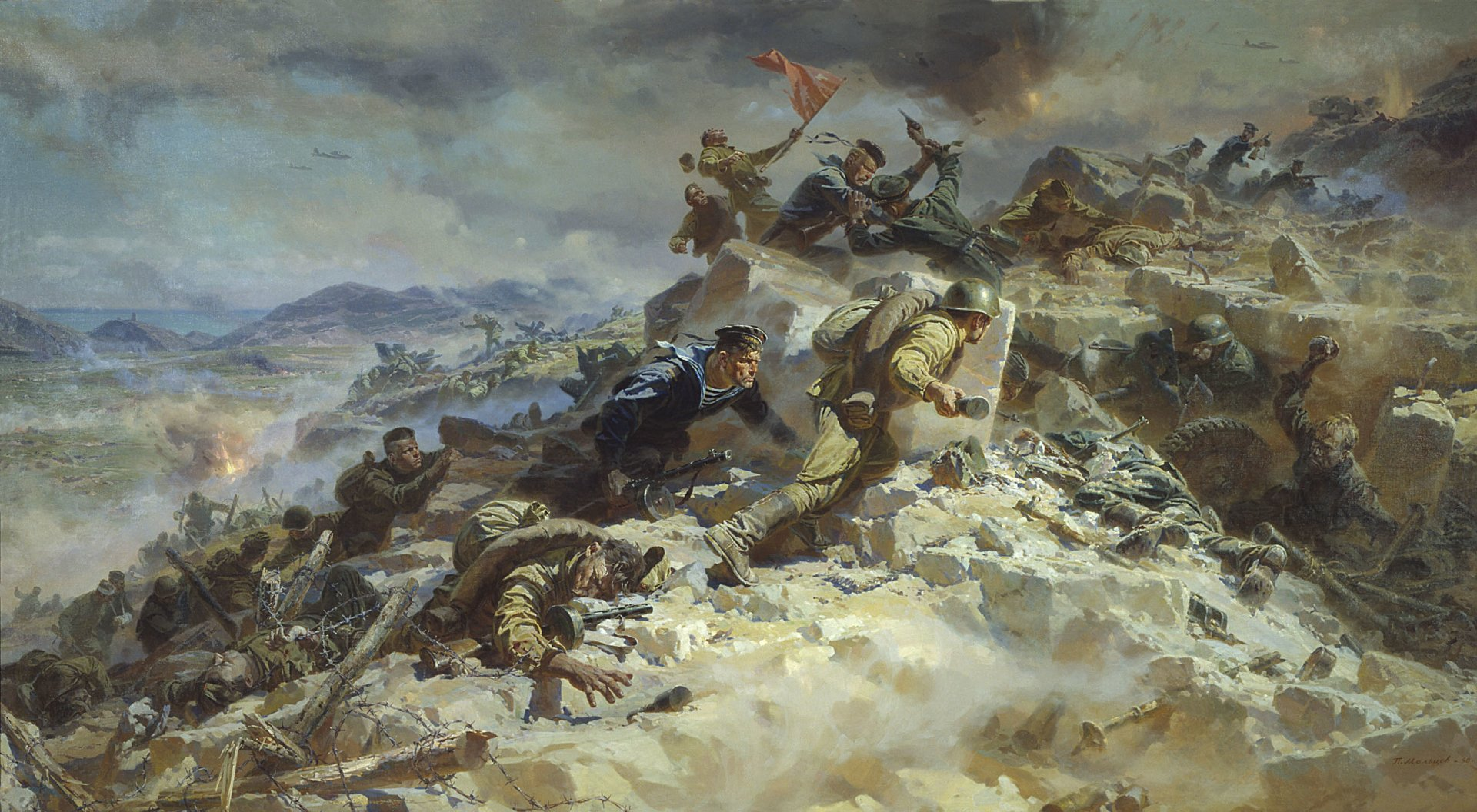 Military - Storm of the Sapun Mountain  Artistic Painting Wallpaper