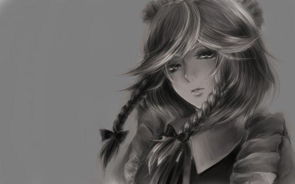 Anime Touhou Sakuya Izayoi Monochrome HD Wallpaper | Background Image