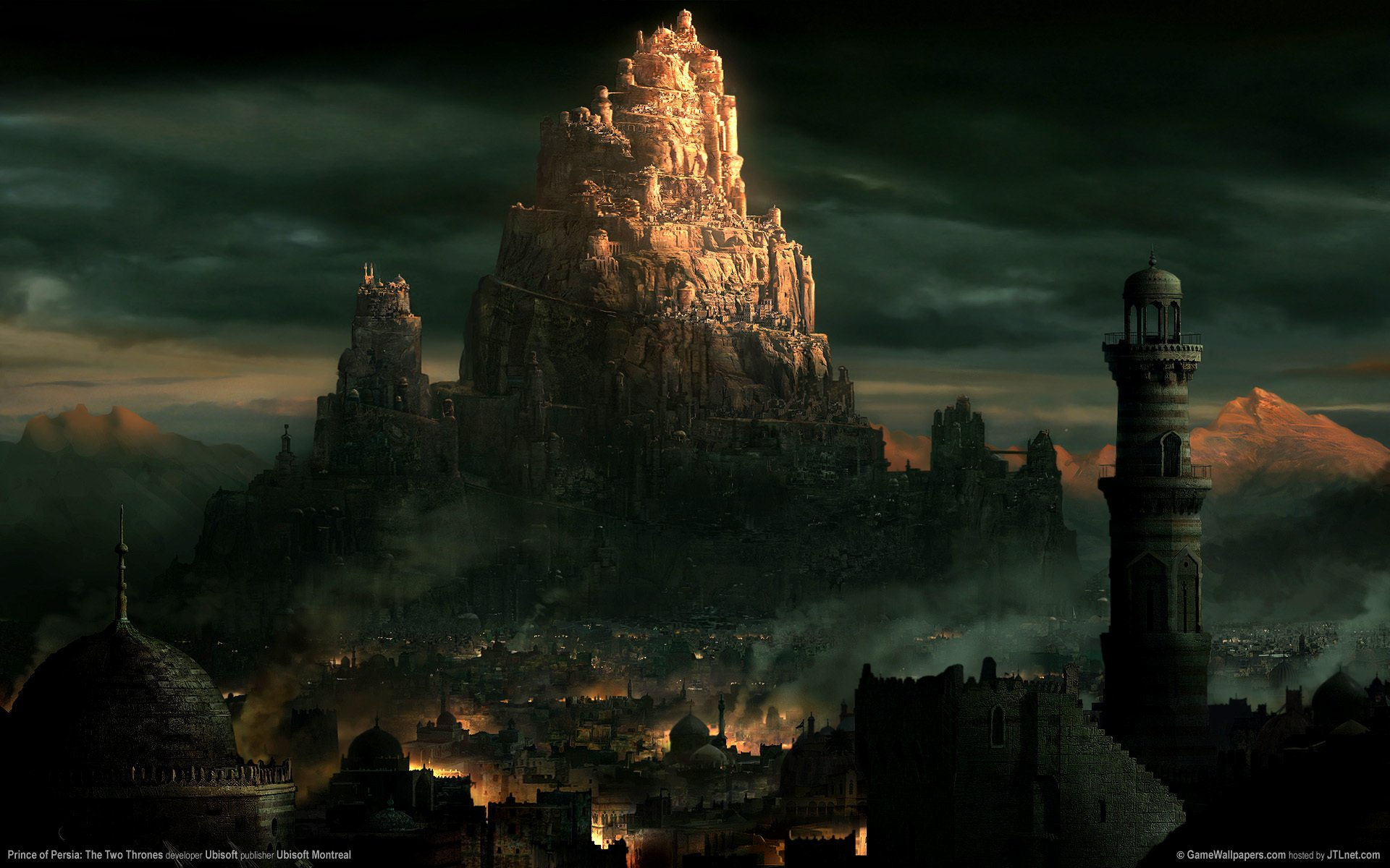 Video Game - Prince Of Persia: The Two Thrones  Forgoten City Mountain Stad Abstrakt Bakgrund