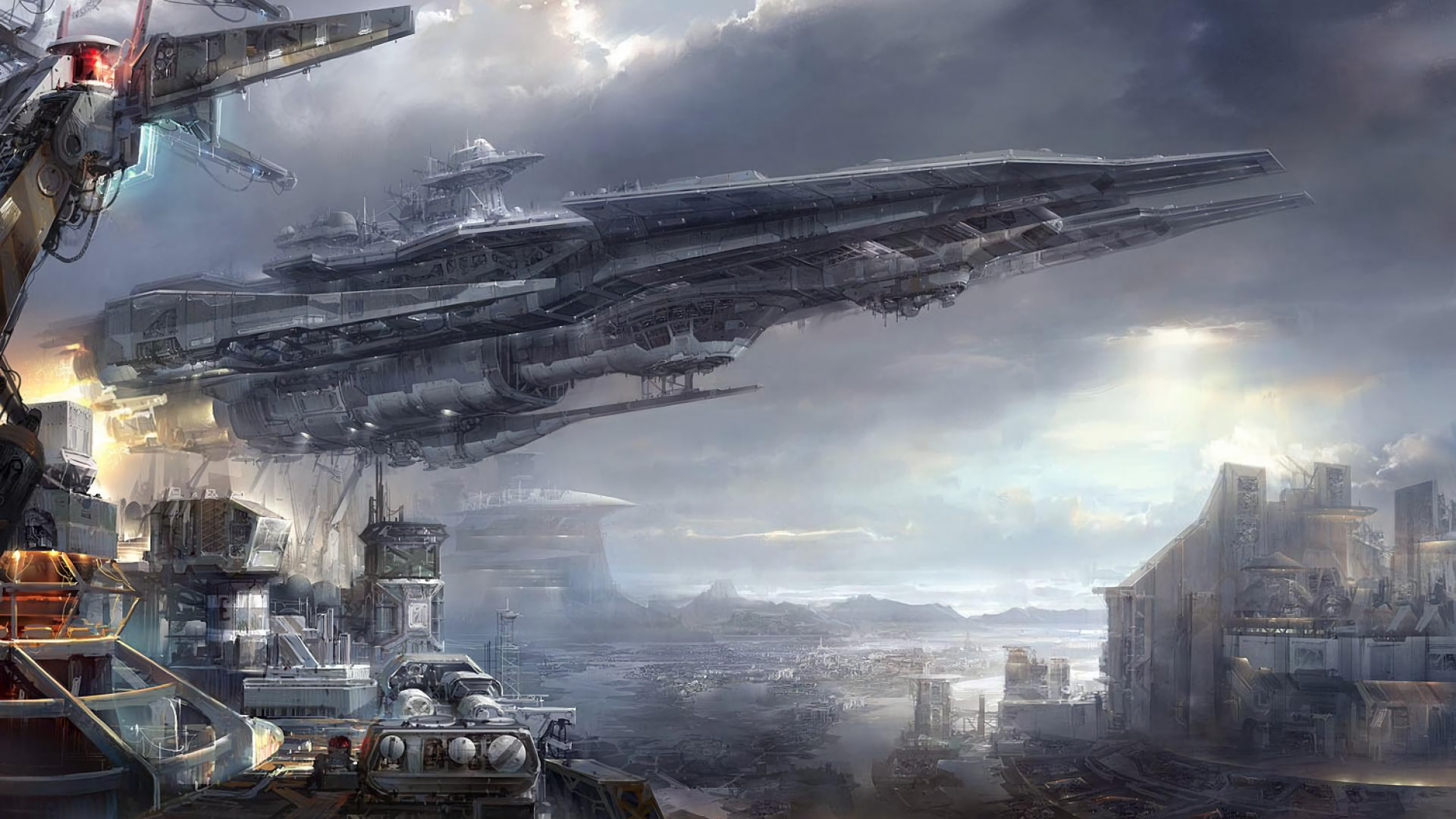 Video Game - Ace Online  Spaceship Cityscape City Sci Fi Futuristic Spaceport Wallpaper