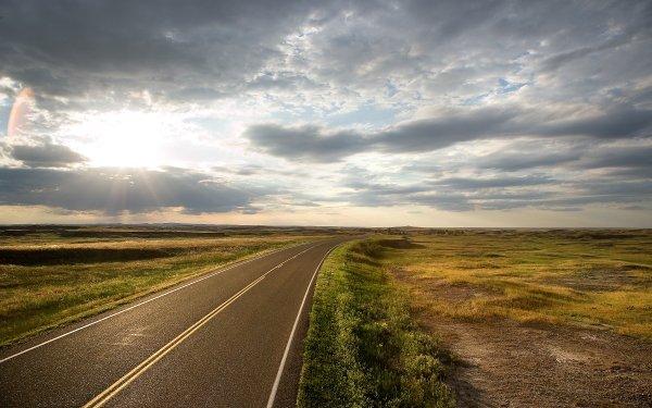 Man Made Road Sun Landscape HD Wallpaper | Background Image