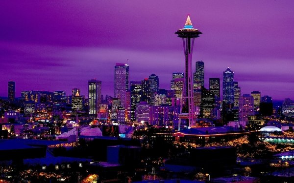 Man Made Seattle Cities United States Space Needle City Night Light HD Wallpaper | Background Image