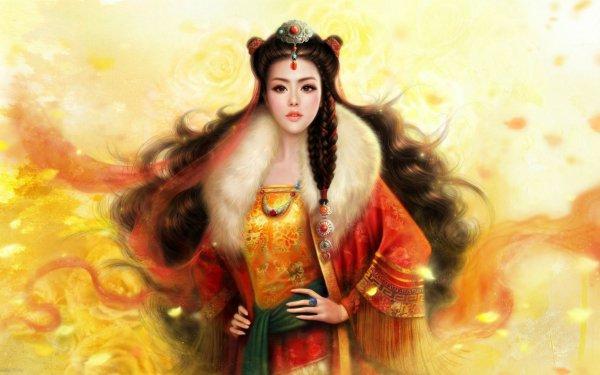 Fantasy Women Girl Zhaomin Hair Woman Asian Fur Jewelry HD Wallpaper | Background Image