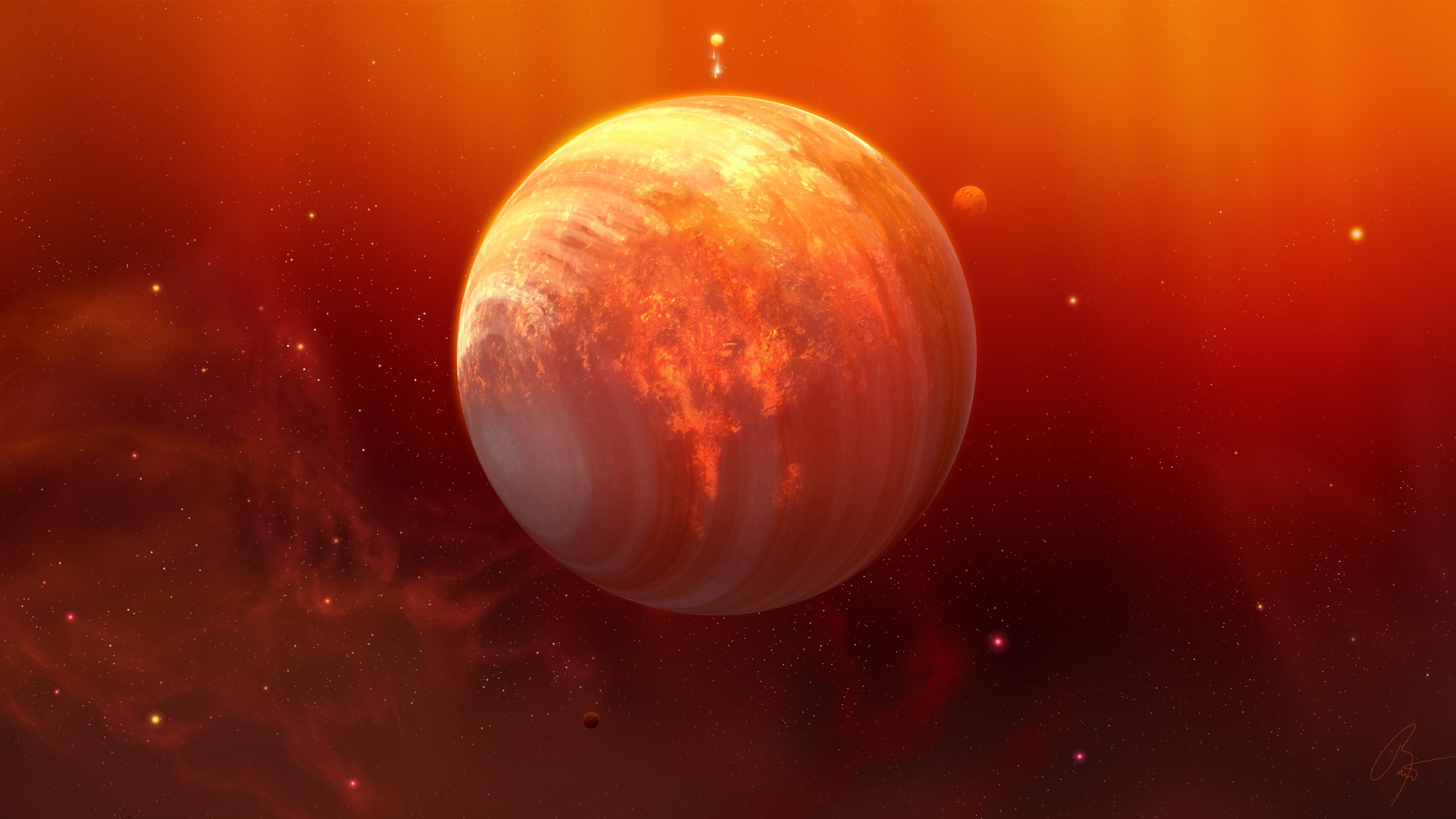 Planets full hd wallpaper and background image 2560x1440 for Plante orange
