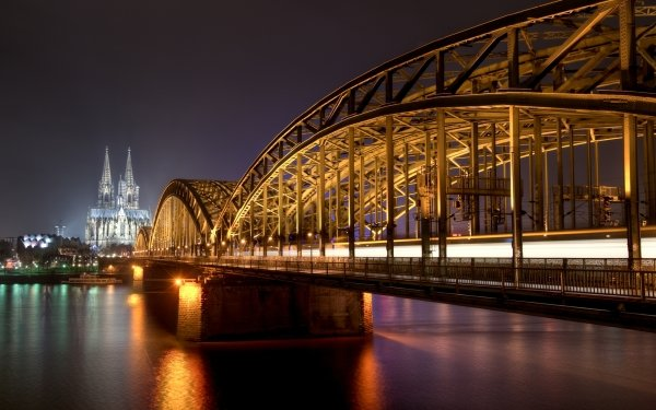 Man Made Bridge Bridges Cologne Church Cathedral Night Germany Hohenzollern Bridge HD Wallpaper   Background Image
