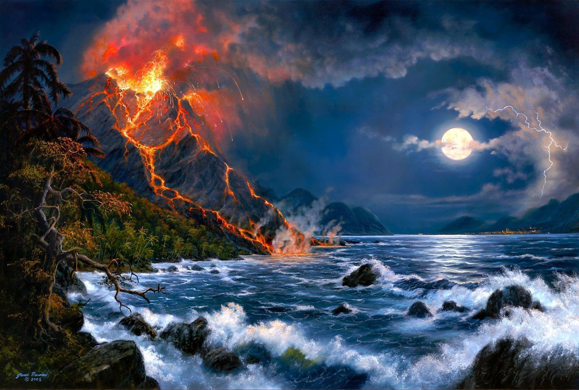 Artistic - Artistic  Volcano Eruption Ocean Rock Wave Moon Sky Lightning Cloud Night Wallpaper