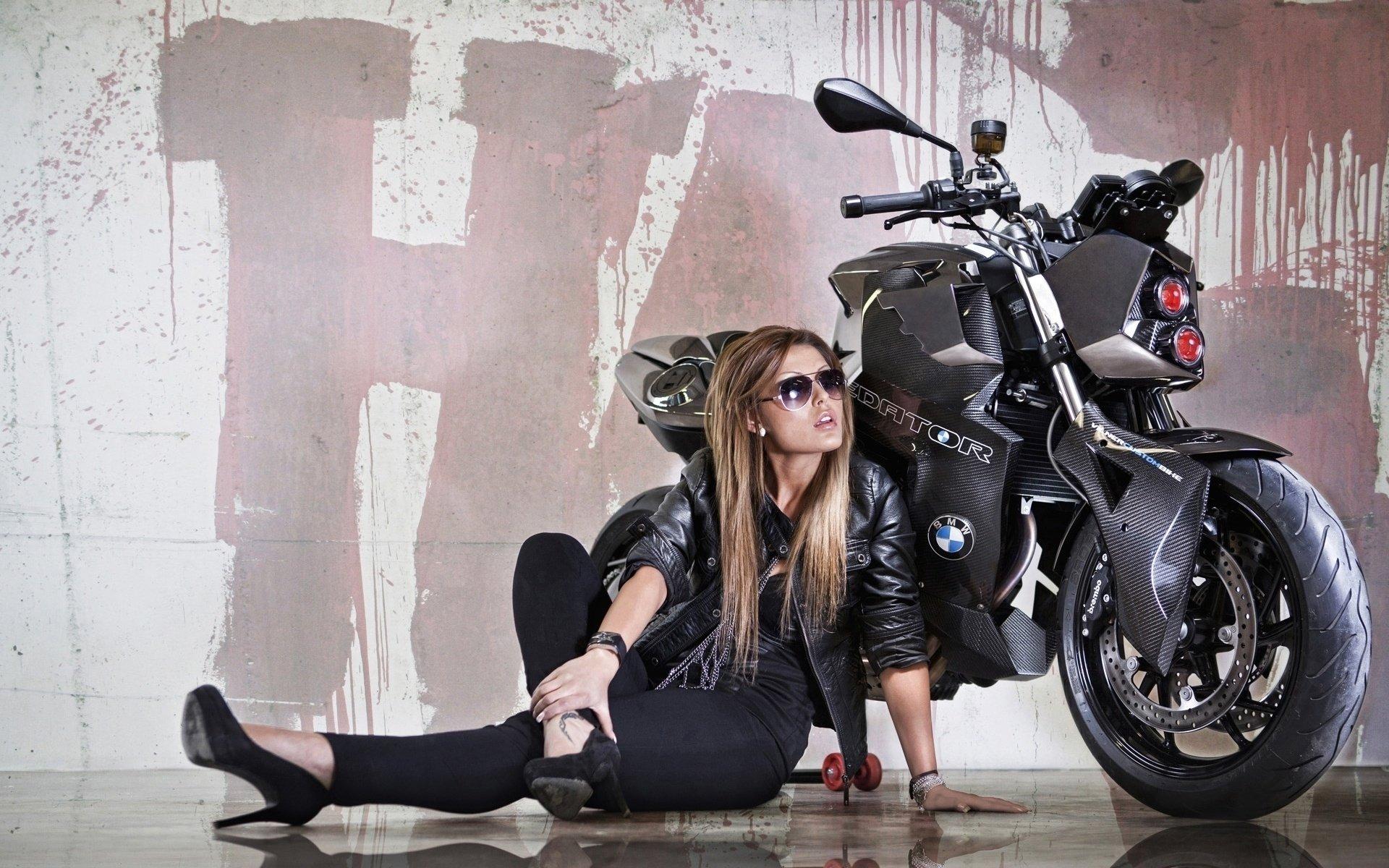 女性 - 摩托车模  宝马 摩托车 壁纸