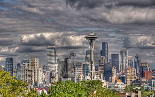 Man Made Seattle Cities United States HDR Space Needle HD Wallpaper | Background Image