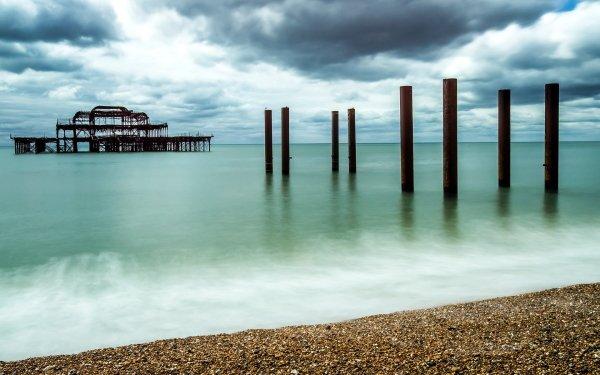 Man Made Ruin Pier HD Wallpaper | Background Image
