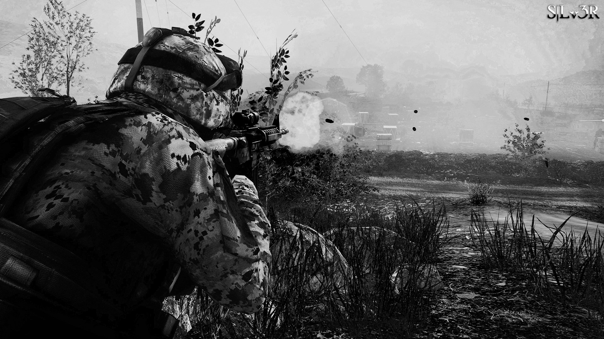 Cool Battlefield 4 Fire Armor In Black Background: ForestFire Black & White Full HD Wallpaper And Background