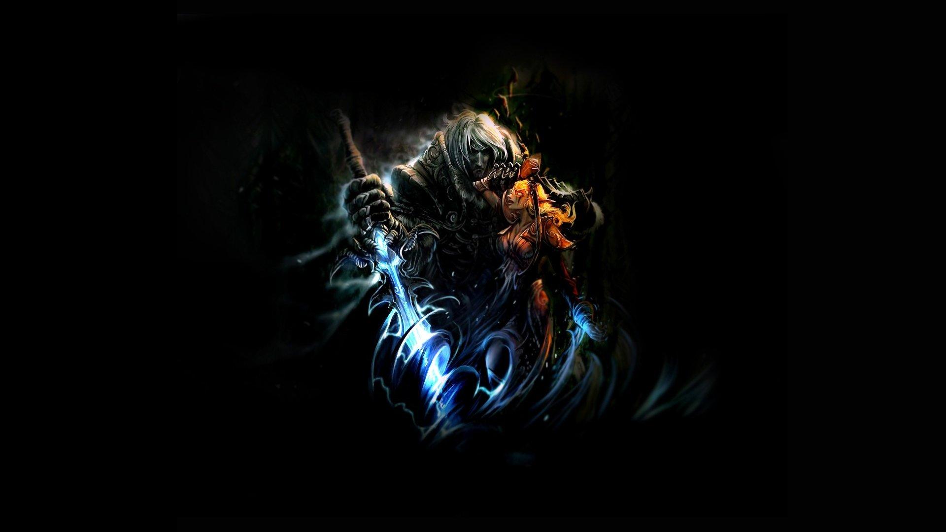 Videojuego - World Of Warcraft  Night Elf Espada Mágico Horde King Arthas Dekaron Ojo Guerra Videojuego Fondo de Pantalla