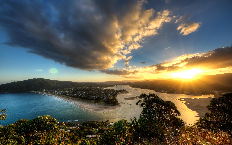 photography sunset landscape cloud sunlight coast town ocean wallpaper