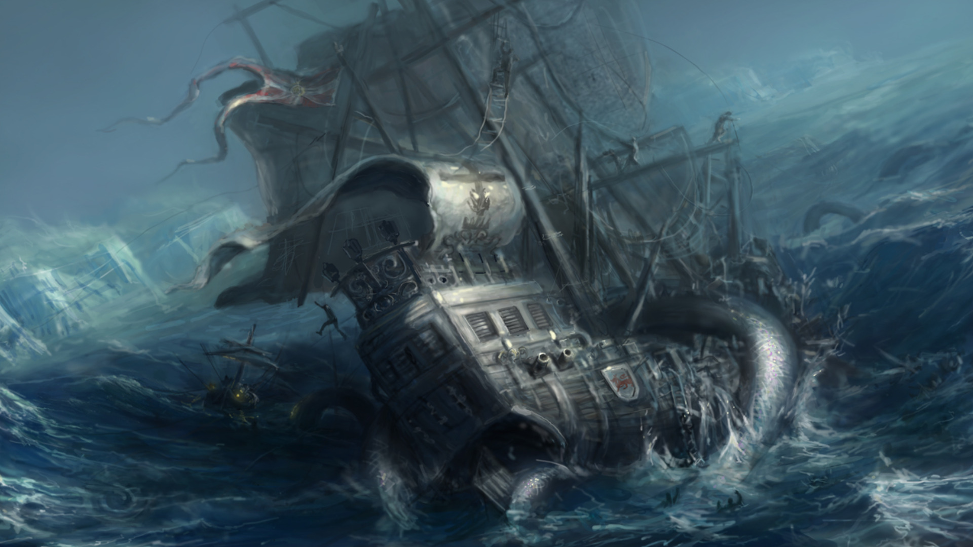 Pirate Ship and Sea Monster