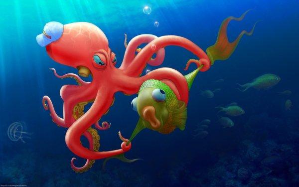 Animal Artistic Fish Octopus HD Wallpaper | Background Image