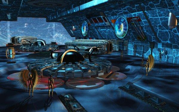 Sci Fi Spaceship Spaceport Space Station Futuristic HD Wallpaper   Background Image