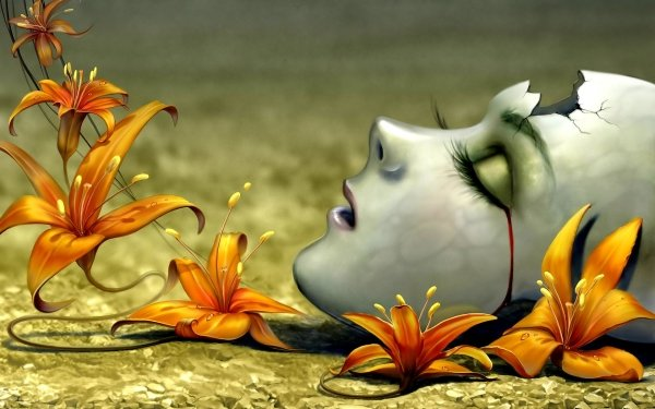 Abstract Artistic Head Face Flower HD Wallpaper   Background Image