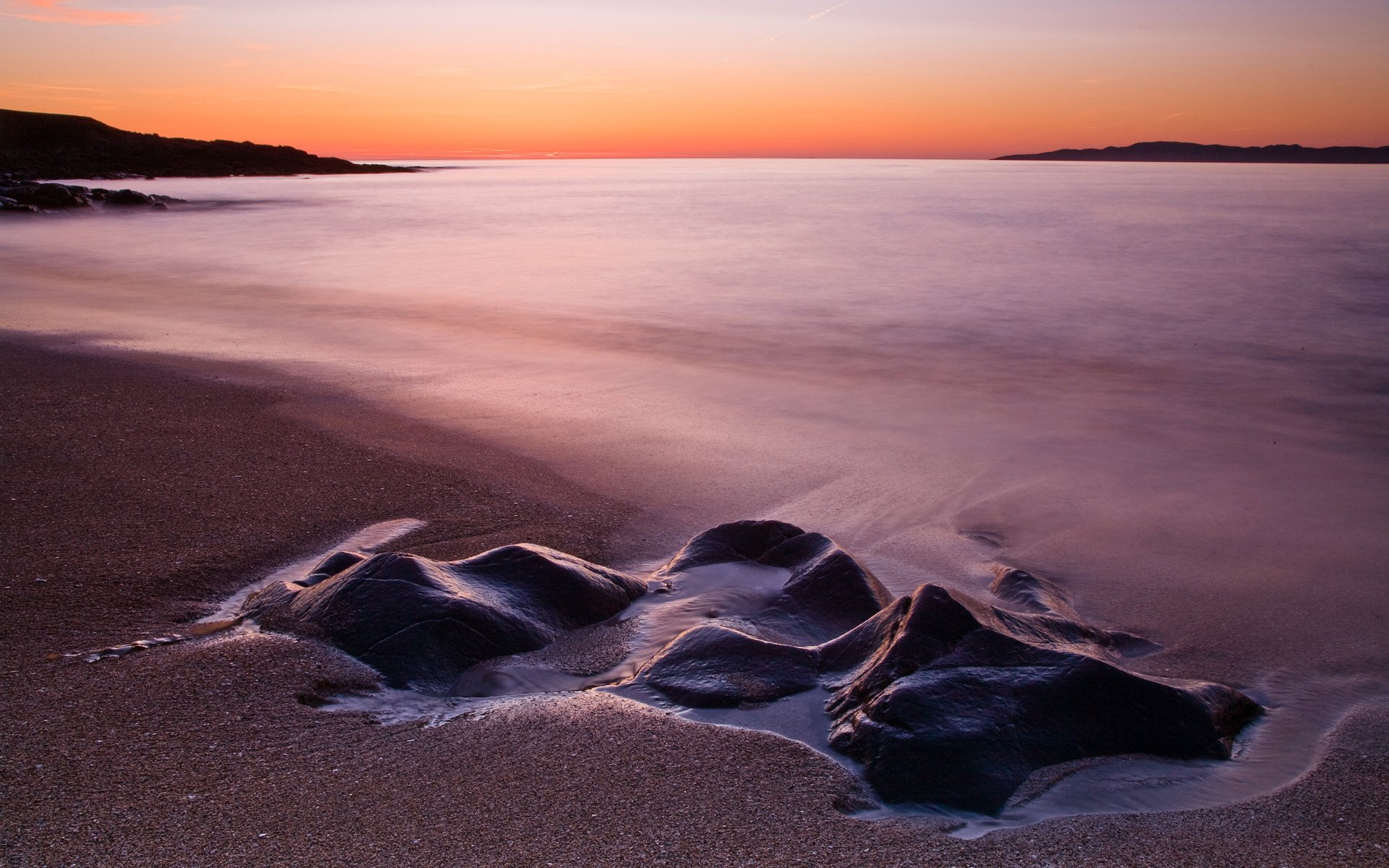 Sea And Rock Landscape At Dusk Backgrounds Widescreen and HD