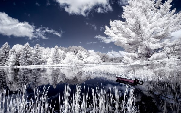 Photography Scenic Lake Boat Landscape Colors Style Infrared HD Wallpaper   Background Image